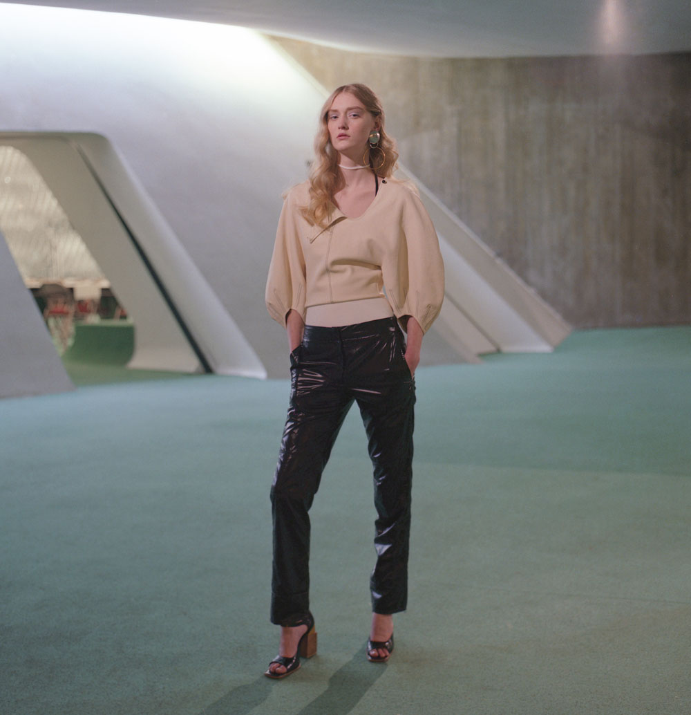 top   CÉLINE   pants   KOCHÉ   jewelry   VIVEKA BERGSTROM   shoes   AWAKE