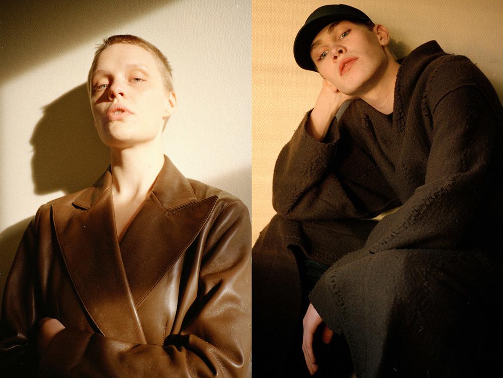 Kirsten wears coat PRADA. Lars wears cap NIKE coat DAMIR DOMA pants GOSHA RUBCHINSKIY