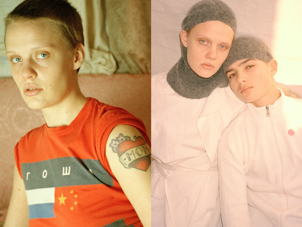Kirsten wears t-shirt GOSHA RUBCHINSKIY. Kirsten wears coat A.F. VANDEVORST and Kornelius wears all STYLIST'S OWN