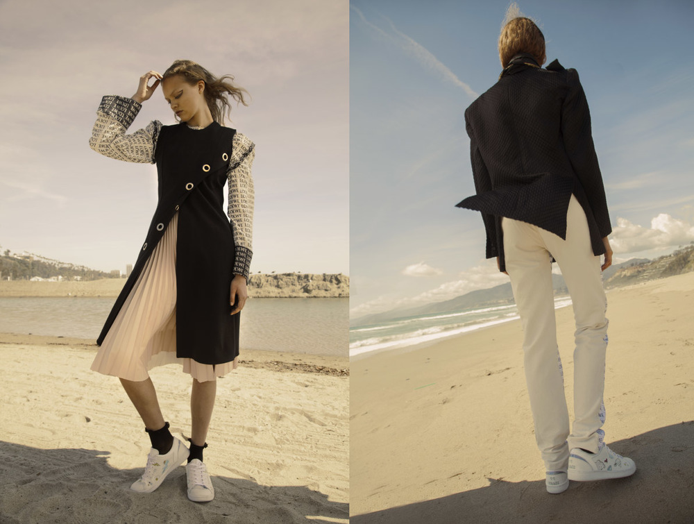 top   LOEWE   dress   BEAUFILLE   skirt   TOPSHOP   sneakers   ELEVEN PARIS  . jacket   LANDEROS   pants   LOEWE   sneakers   ELEVEN PARIS