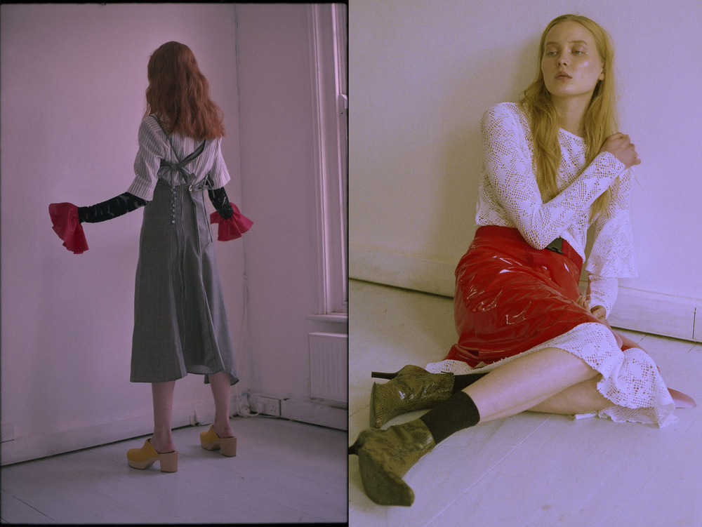 Jessica wears dress   JH ZANE   shirt   FILIPPA K   knitted dress under   HOUSE OF DAGMAR   cuffs   STYLIST'S OWN   shoes   SWEDISH HASBEENS  . Eva wears dress   ANN-SOFIE BACK   socks   MODEL'S OWN   skirt, belt and shoes   STYLIST'S OWN