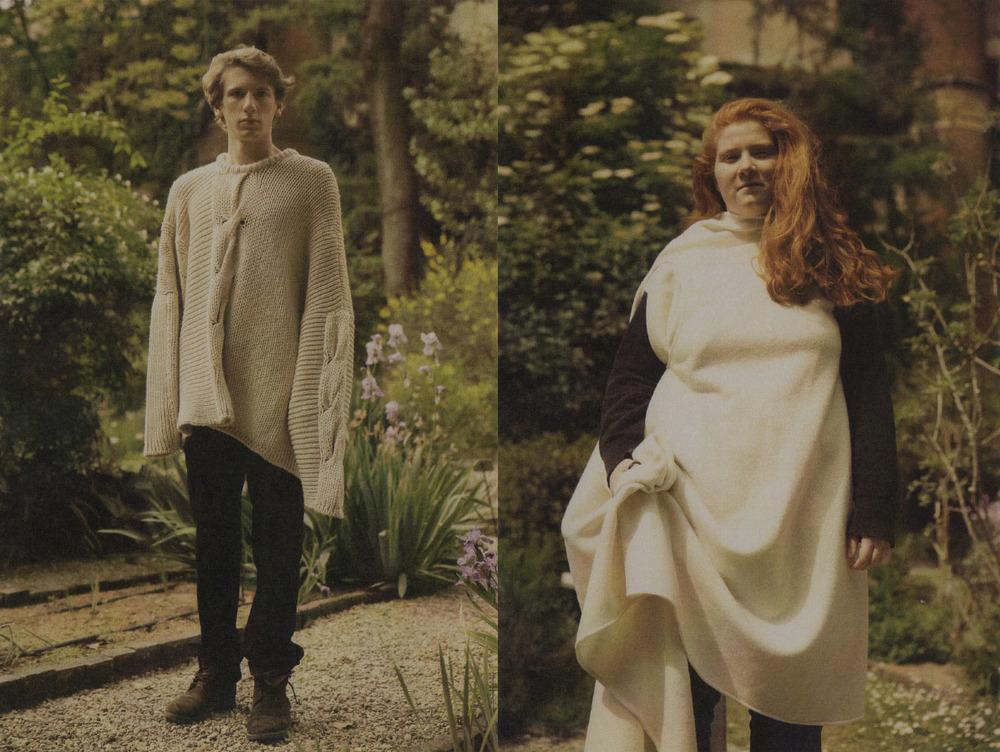 Tommaso wears sweater MIAO RAN pants COMME DES GARÇON. Anna wears NOBI TALAI