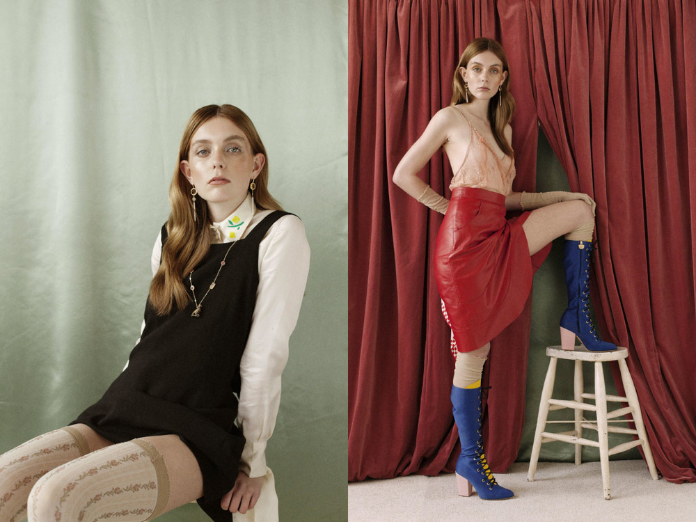 shirt NAYA REA dress STYLIST'S OWN stockings CALZEDONIA earrings and necklace FRANCESCA VILLA. top STYLE STALKER skirt HOUSE OF HOLLAND gloves and stocking JESSICA CABASSA boots CHIARA FERRAGNI handkerchief STYLIST'S OWN earrings FRANCESCA VILLA
