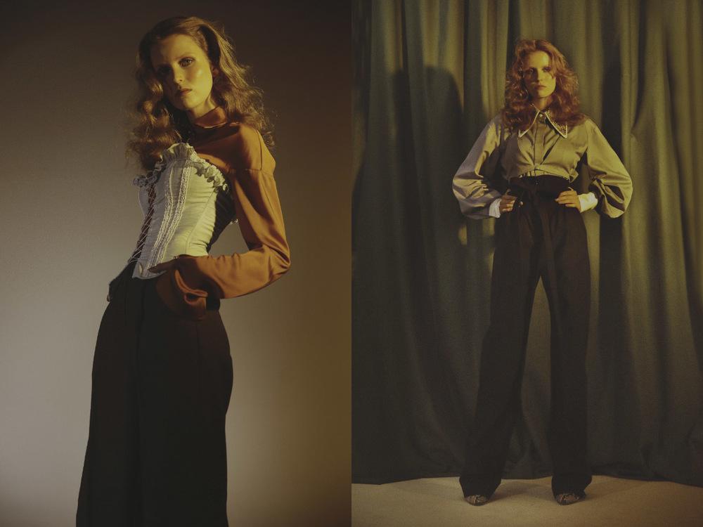 shirt   MARCO CORSO  pants   MARIANNA SENCHINA   corset   VINTAGE  . shirt   MARIANNA SENCHINA   pants   ALEXIS MABILLE   boots   FABIO RUSCONI