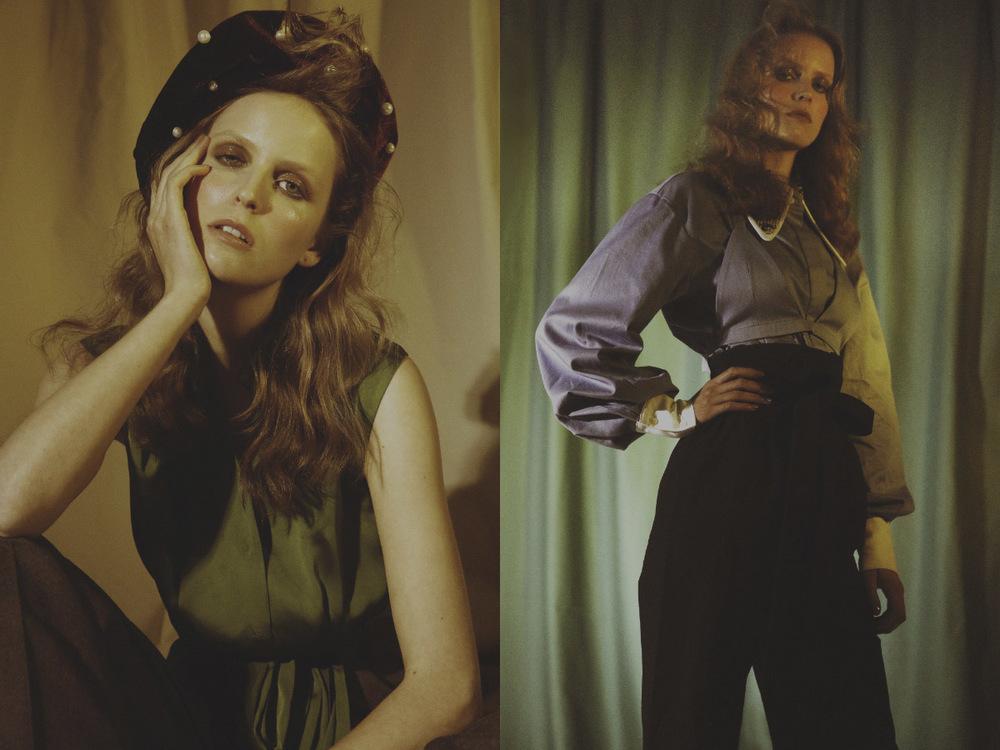 beret and pants   MARIANNA SENCHINA   shirt   ALBERTA FERRETTI.  shirt   MARIANNA SENCHINA   pants   ALEXIS MARILEE