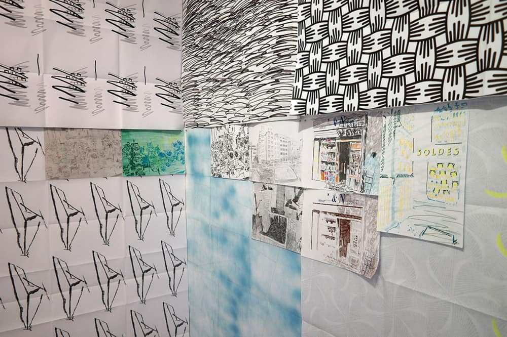 Belsunce, 2013- 2015, digital printings and drawings, 85 x 120 cm each and 29,7 x 21 cm each. Installation view: Le Cube - Independent art Room, Rabat, MA, 2015