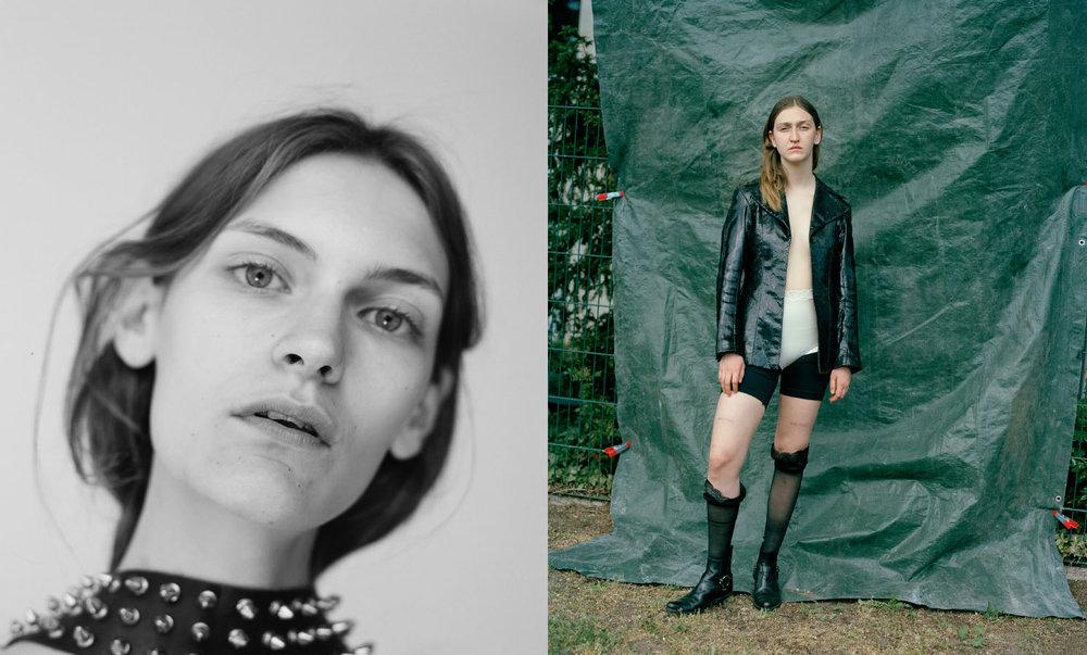 Fia. Nina wears jacket and lingerie STYLIST'S OWN boots MIU MIU