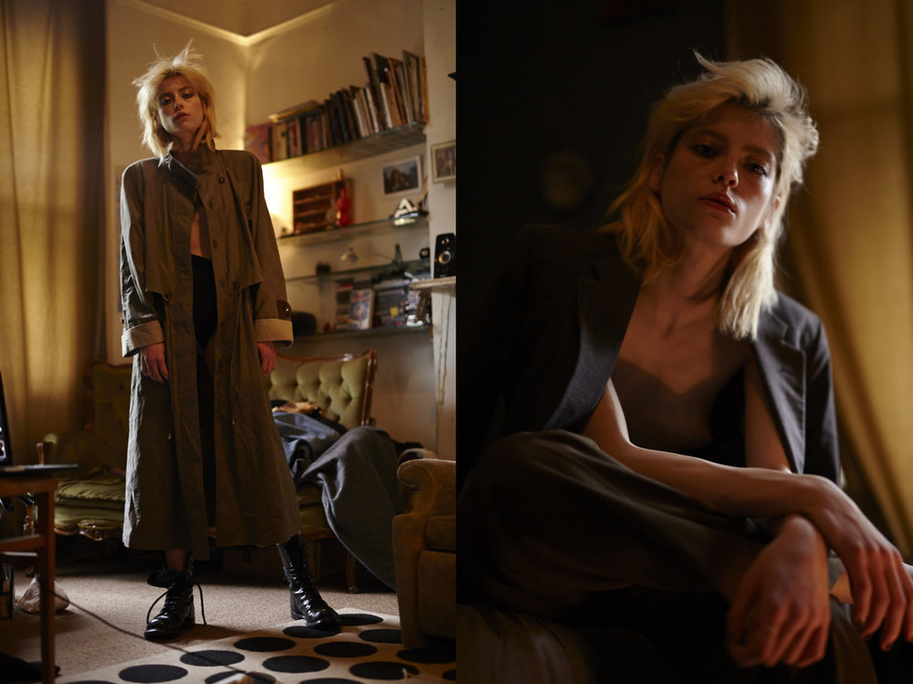trench coat BEYOND RETRO tank AMERICAN APPAREL boots BLITZ LONDON. all BEYOND RETRO