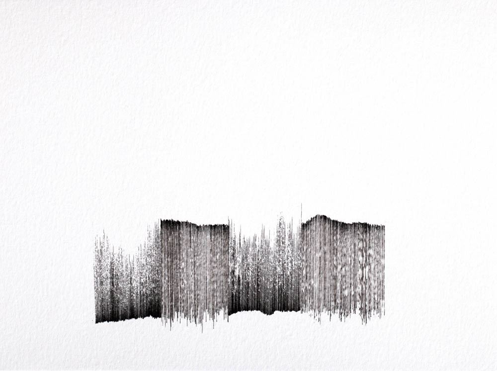 Les Fragments, 2015,drawing series ink on paper 14,9x19,9 cm each. Image: Adeline Moreau
