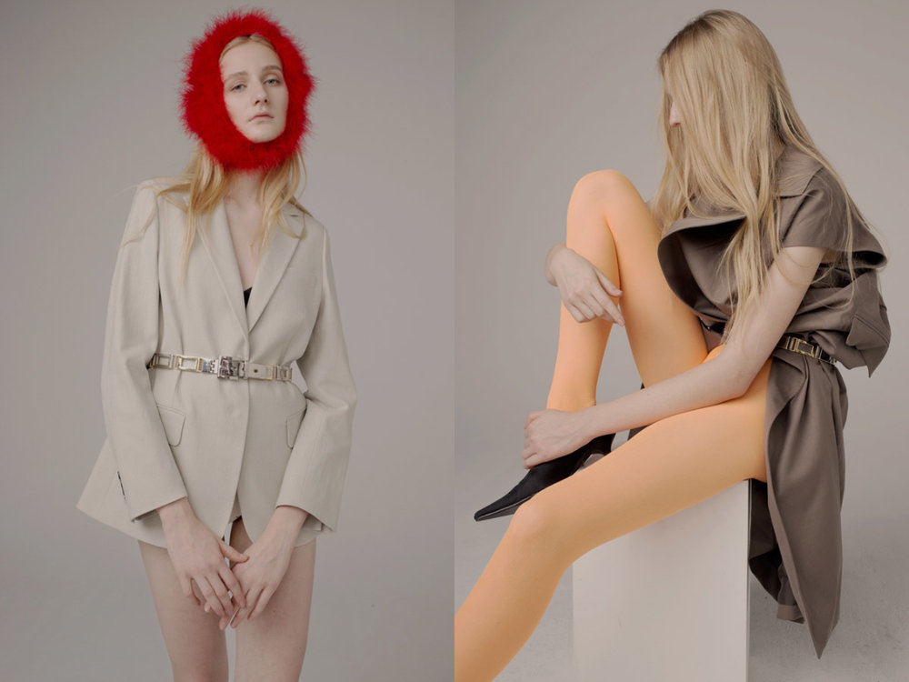 suit jacket   ACNE STUDIOS   marabou and belt   STYLIST'S OWN  . sleeveless coat   HELMUT LANG   stockings, shoes and belt   STYLIST'S OWN