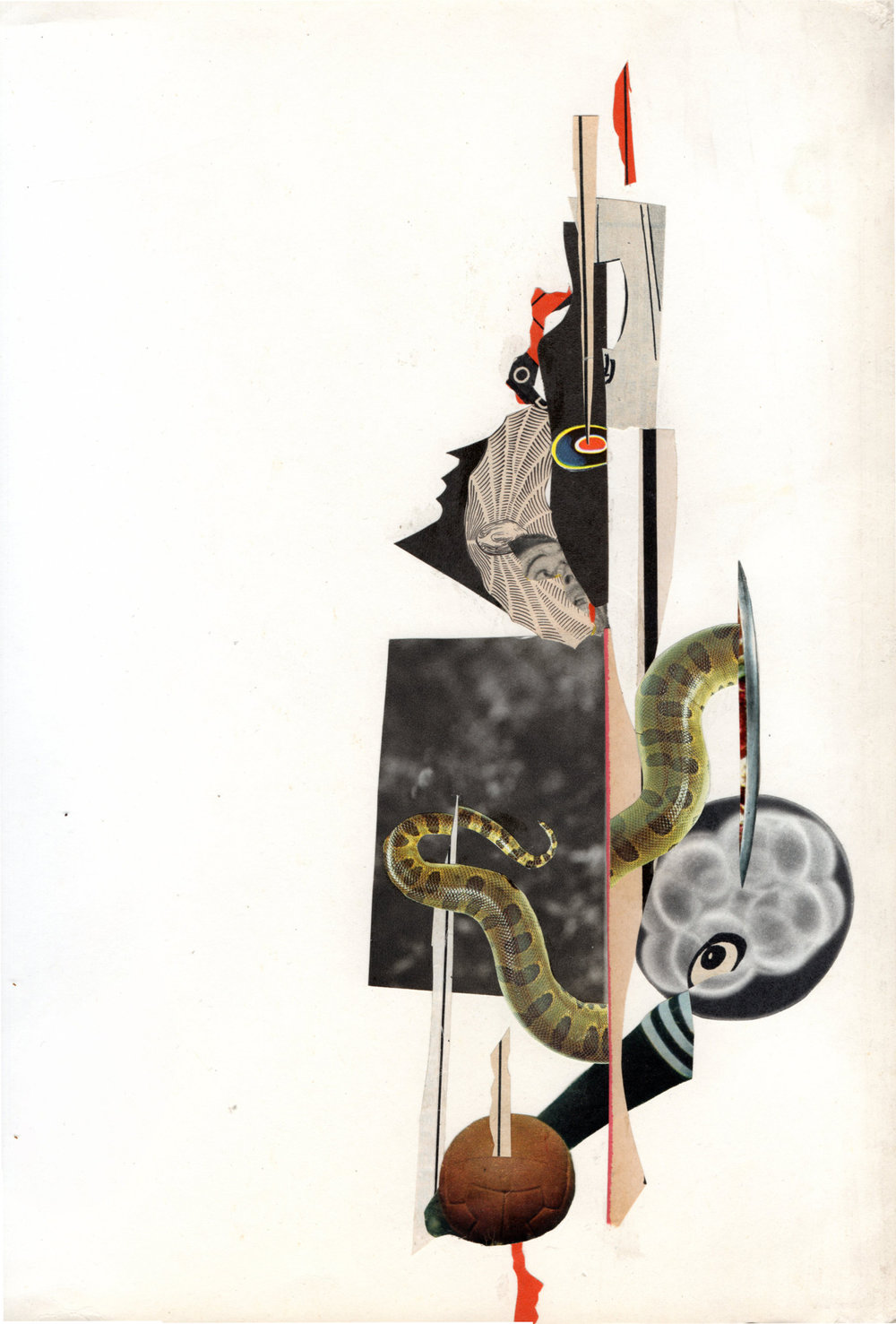 Collage Collaboration between Bill Noir & Jonathan Tegelaars, 2016, Ratatà Festival in Macerata, 31 x 24 cm
