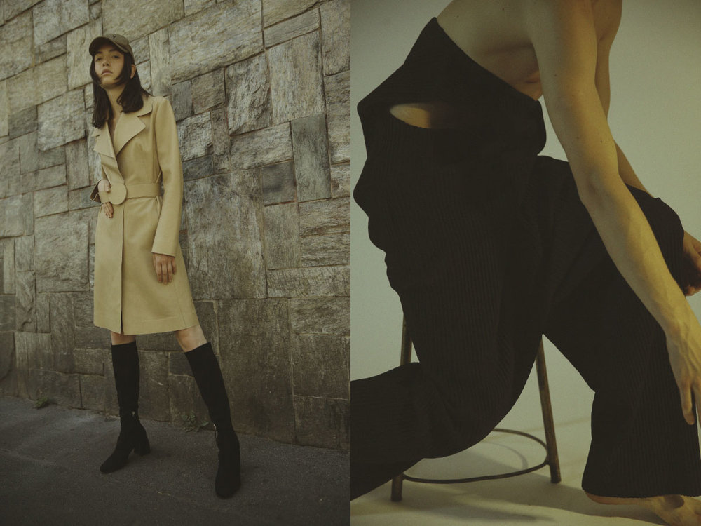 hat VAR/CITY coat and boots SPORTMAX. jumpsuit ISSEY MIYAKE