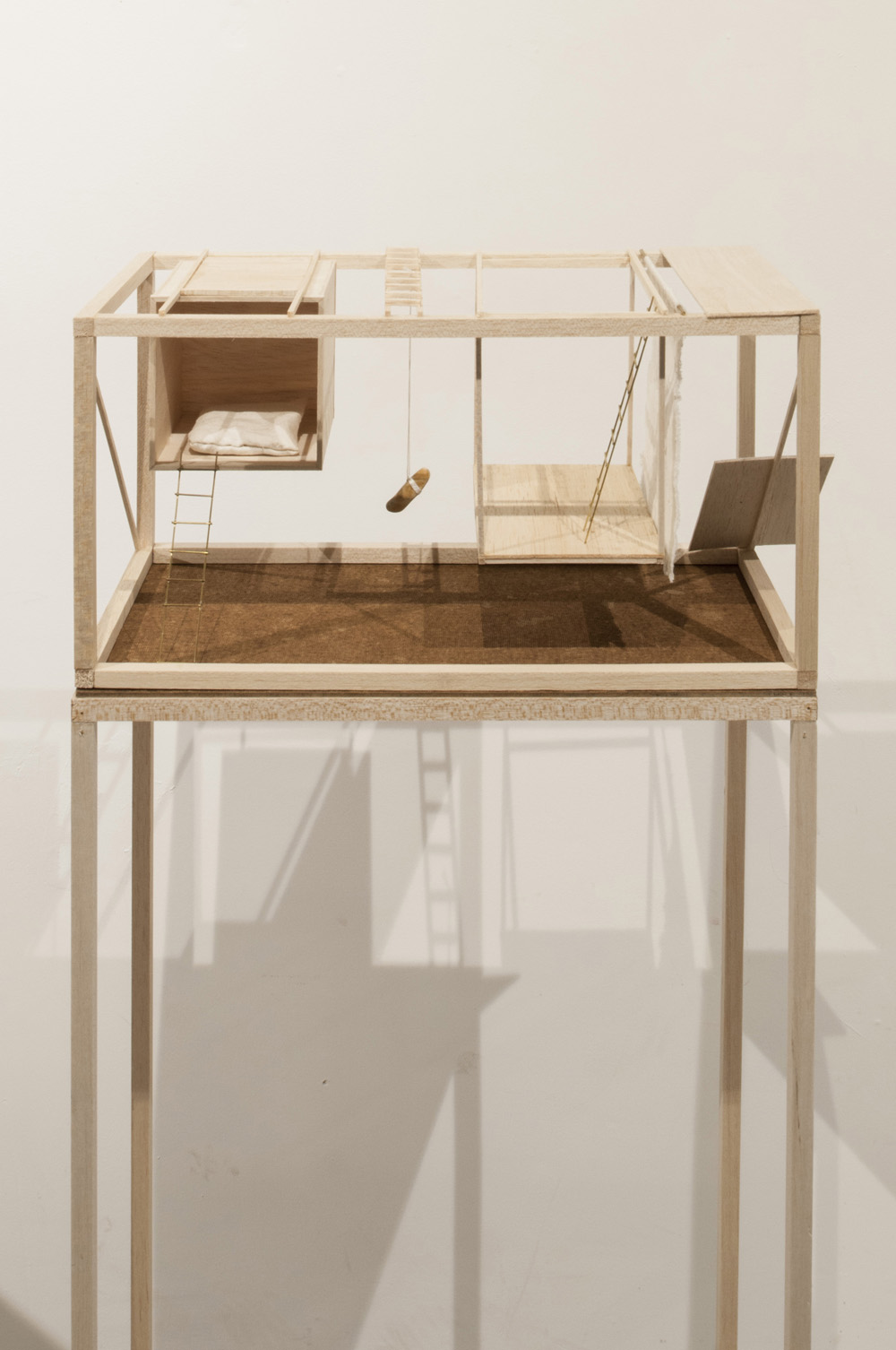 Maison 02, 2015, balsa, brass, print on balsa, stone, wire, cotton house 20 x 20 x 40 cm, pedestal 20 x 40 x 120 cm