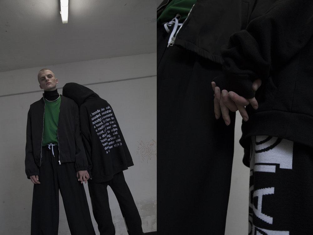 Nicola wears bomber NICOLA INDELICATO t-shirt NIKEpants MONO-Y. Clara wears hoodie VETEMENTS pants NICOLA INDELICATO