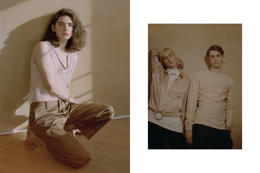Johnny wears top   BARBARA ALVISI   pants   GUCCI  . Lewis wears turtleneck   OFF­‐WHITE   shirt   MARTINE ROSE   pants   SAINT LAURENT  . Harry wears top   A-COLD-WALL