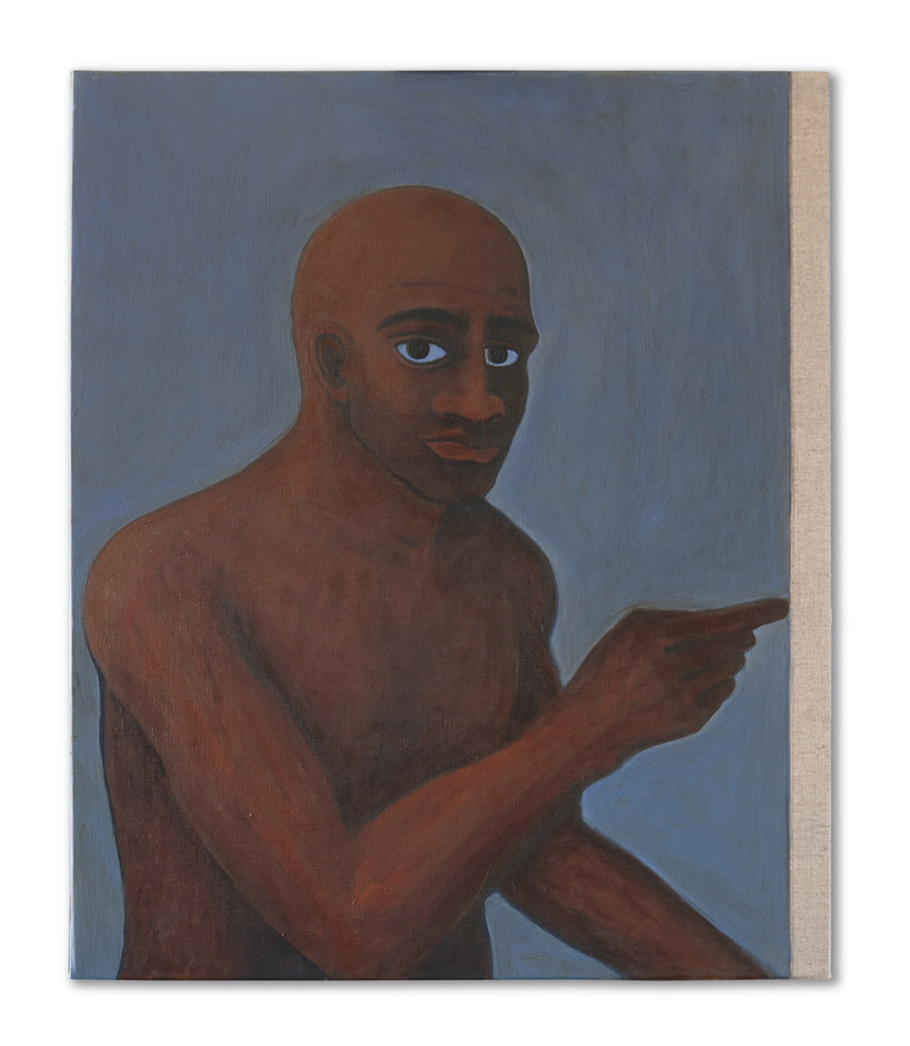 Peintre torse nu. Acrylic on linen, 55 x 46 cm