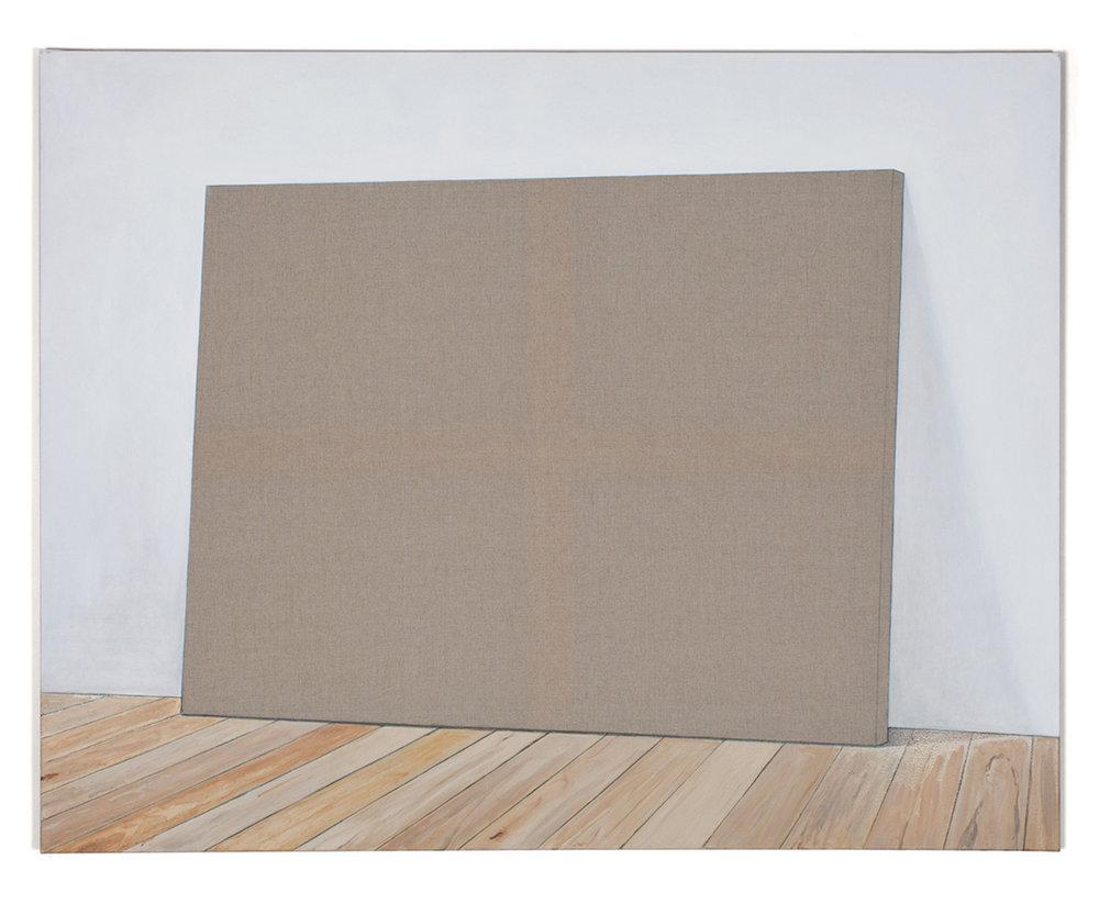 Toile au pied du mur. Acrylic and graphite pencil on linen, 114 x 146 cm