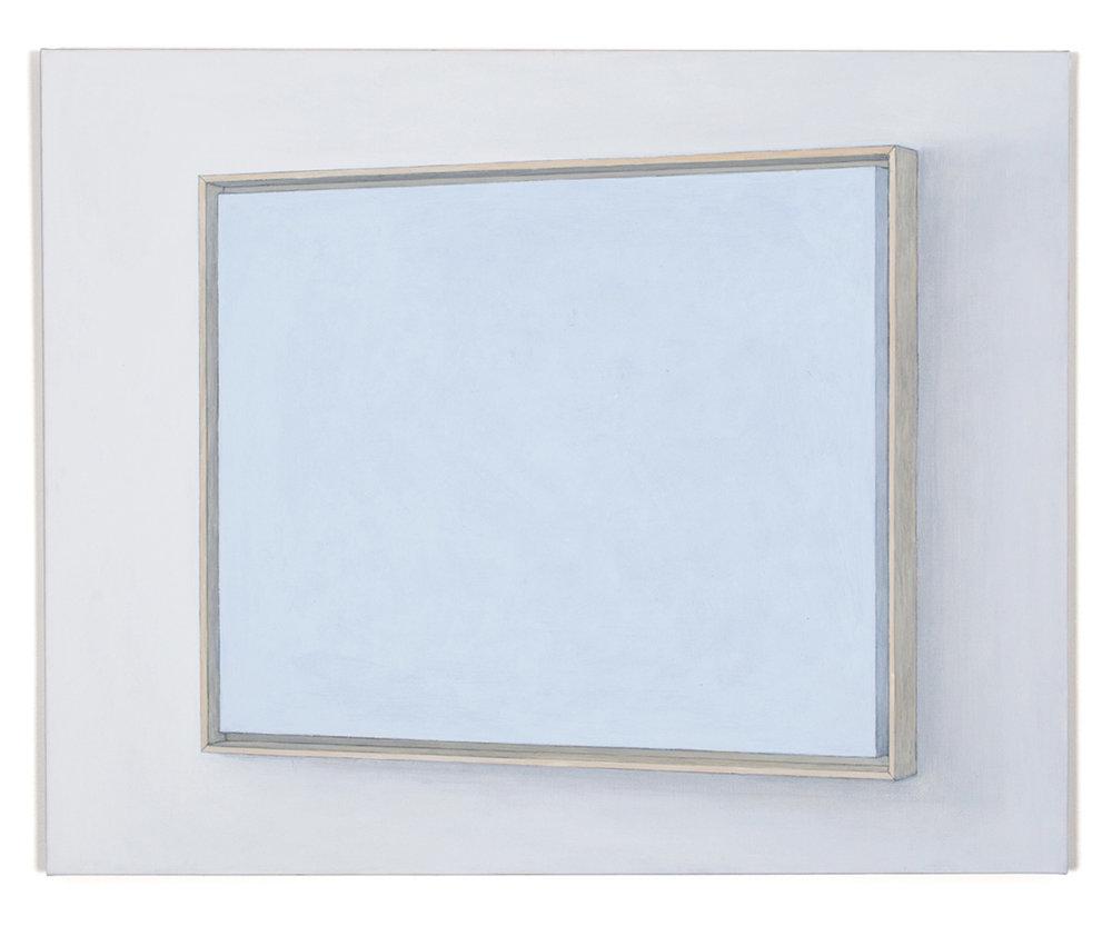 Bleu clair caisse américaine. Acrylic and graphite pencil on linen, 65 x 81 cm
