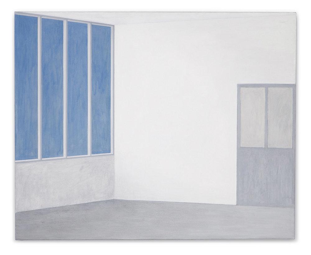 Atelier verrière gauche porte droite. Acrylic and graphite pencil on linen, 81 x 100 cm