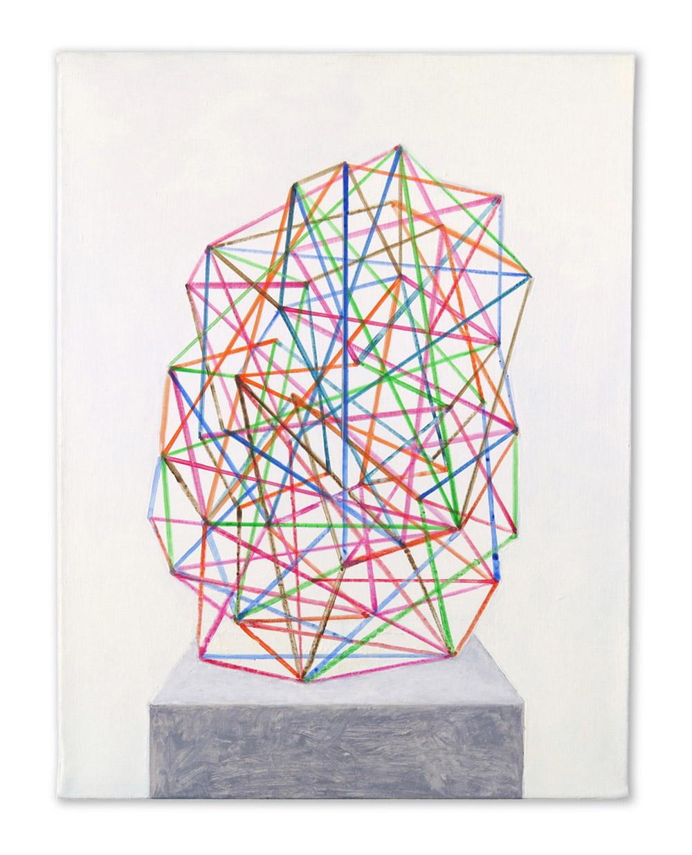 Sculpture abstraite. Acrylic on linen, 35 x 27 cm