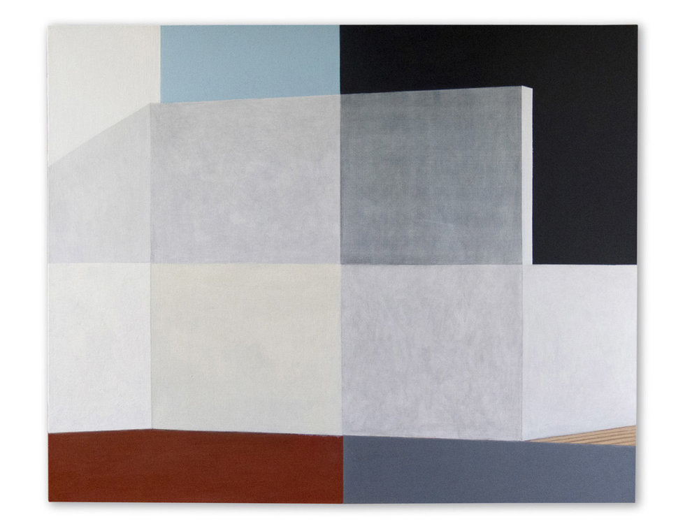 Atelier quatre en un. Acrylic and graphite pencil on linen, 81 x 100 cm