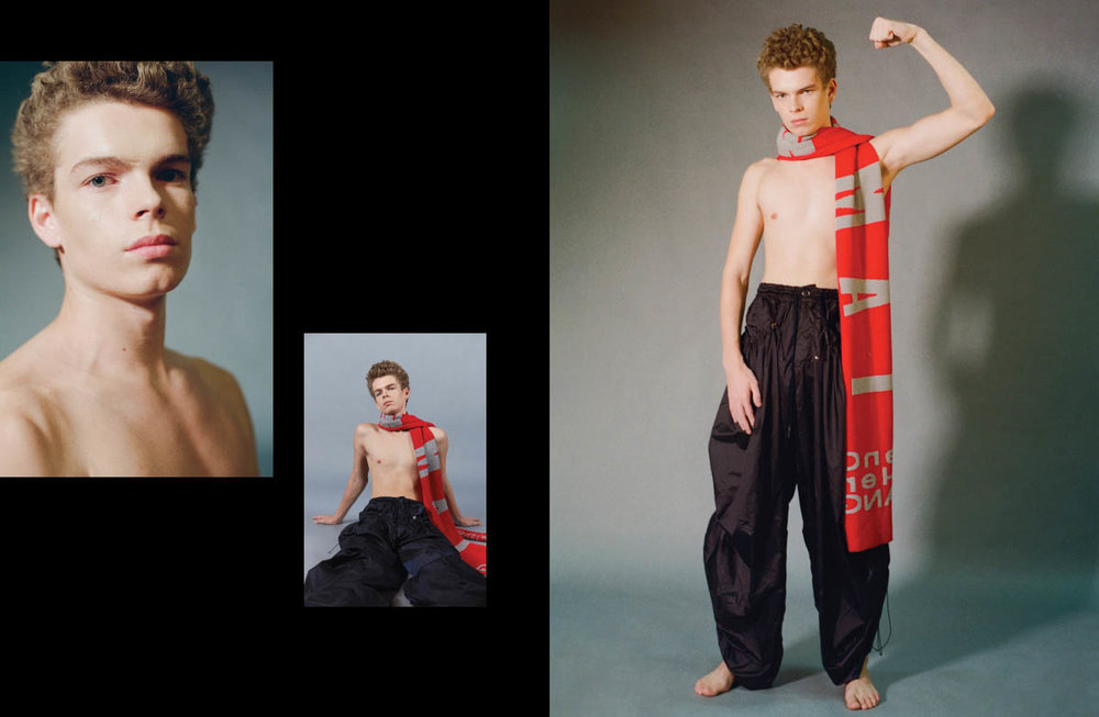 Guihem wears scarf and pants   FENG CHEN WANG