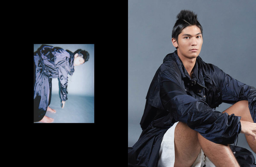 Alexandre wears jacket and shorts   FENG CHEN WANG