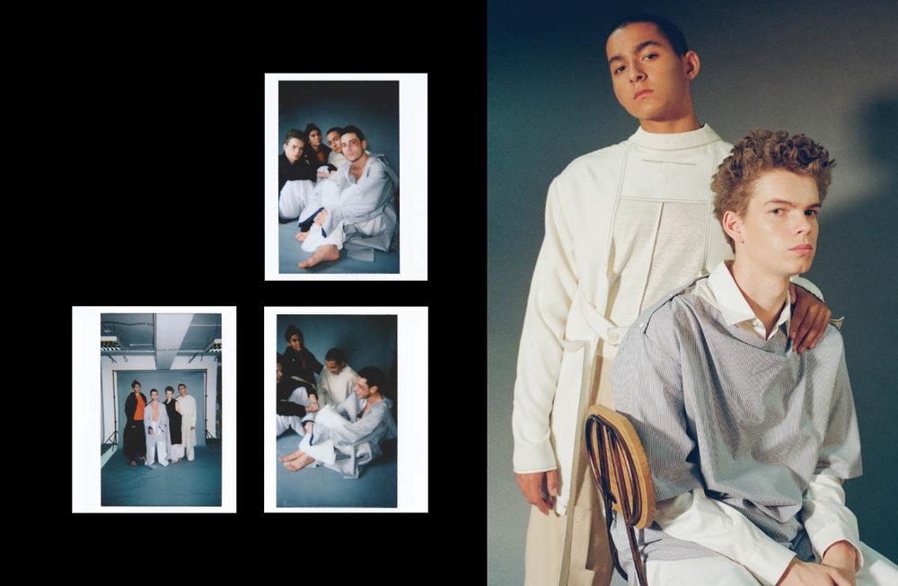 Antoine wears shirt and pants   THE-SIRIUS  . Guihem wears top, shirt and pants   FFIXXED STUDIOS