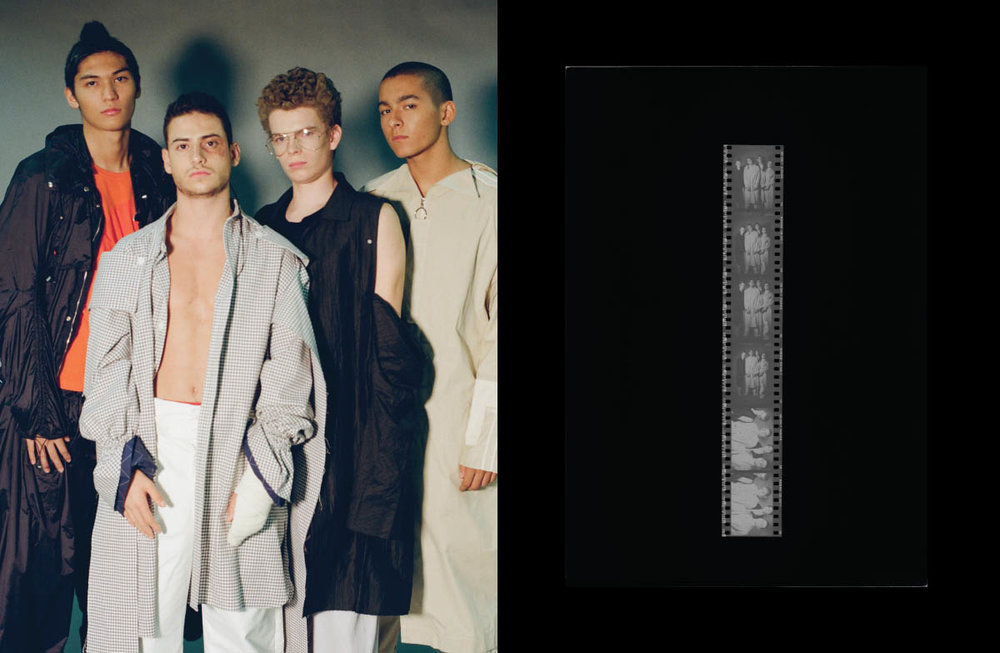 Alexandre wears jacket,top and pants   FENG CHEN WANG  . Khaled wears jacket and pants   STAFFONLY STUDIO  . Guihem wears jacket and pants   FFIXXED STUDIOS   .Antoine wears jacket and pants   THE-SIRIUS