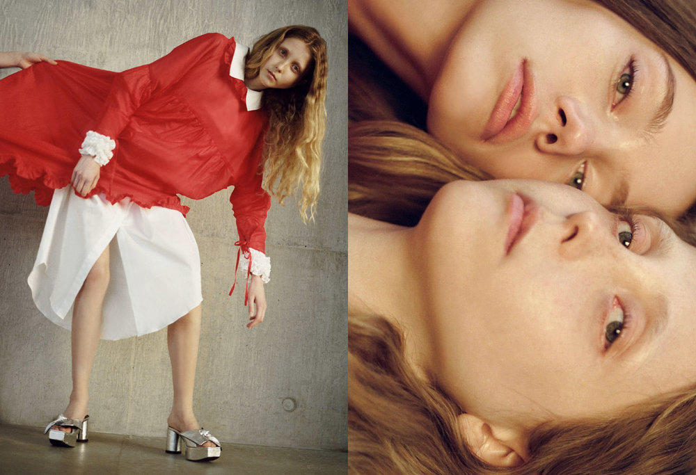 Franny wears white shirt CECILIE BAHNSEN red shirt MASHAEL ALRAJHI shoes IRENE SJ YU