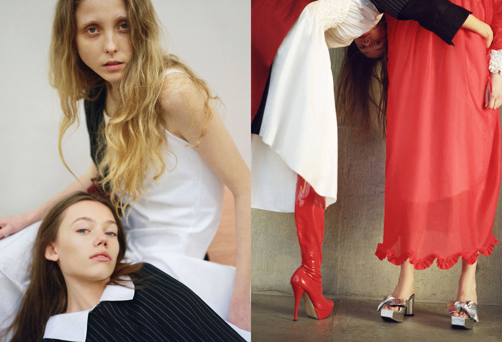 Lydia wears coat styled as a dress MASHAEL ALRAJHI. Franny wears white shirt CECILIE BAHNSEN red shirt MASHAEL ALRAJHI. Lydia wears all clothes MASHAEL ALRAJHI boots STYLIST'S OWN. Franny wears all clothes MASHAEL ALRAJHI shoes IRENE SJ YU