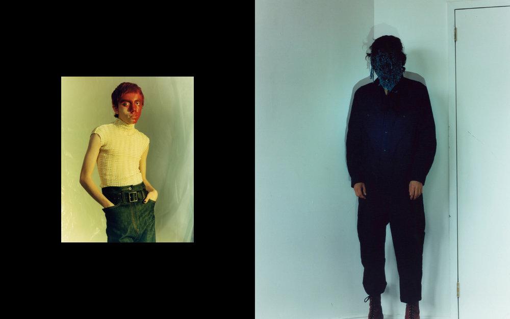 Jovel wears top   KAHLE   pants and belt   KOZABURO  . Austin wears jumpsuit   STEVEN ALAN   mask and boots   KOZABURO