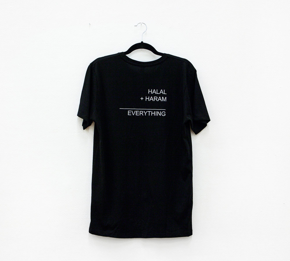 """HALAL + HARAM = EVERYTHING"" reflective ink on tshirt (multiple of 2) 2016."