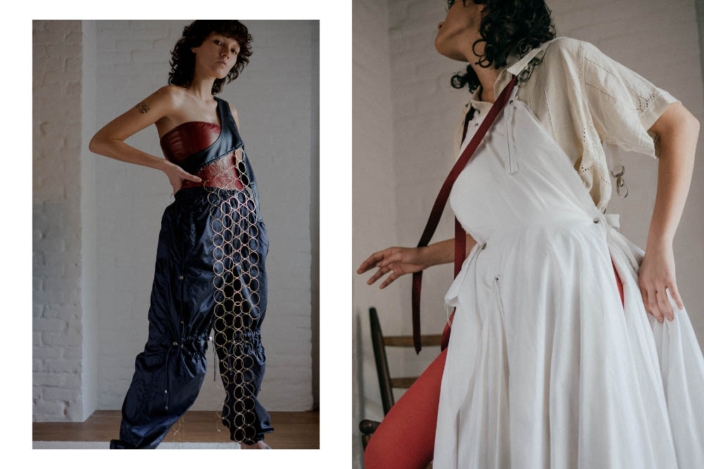 corset STYLIST'S OWN vest BARRAGÁN pants FENG CHEN WANG. shirt BODE dress FRANCESCA LONGO tights STYLIST'S OWN