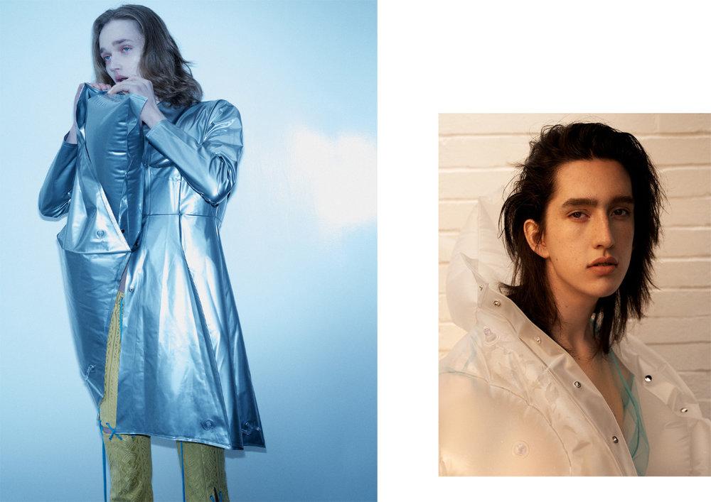 jacket MICHIKO KOSHINO pants ANGEL CHEN. transparent top J JS LEE jacket MICHIKO KOSHINO