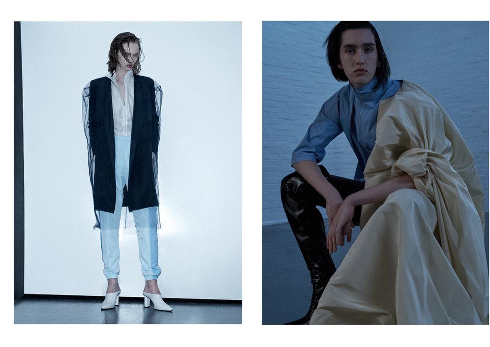 track jacket and pants COTTWEILER blazer and transparent top J JS LEE. top COTTWEILER shoulder piece EMMA BERGAMIN
