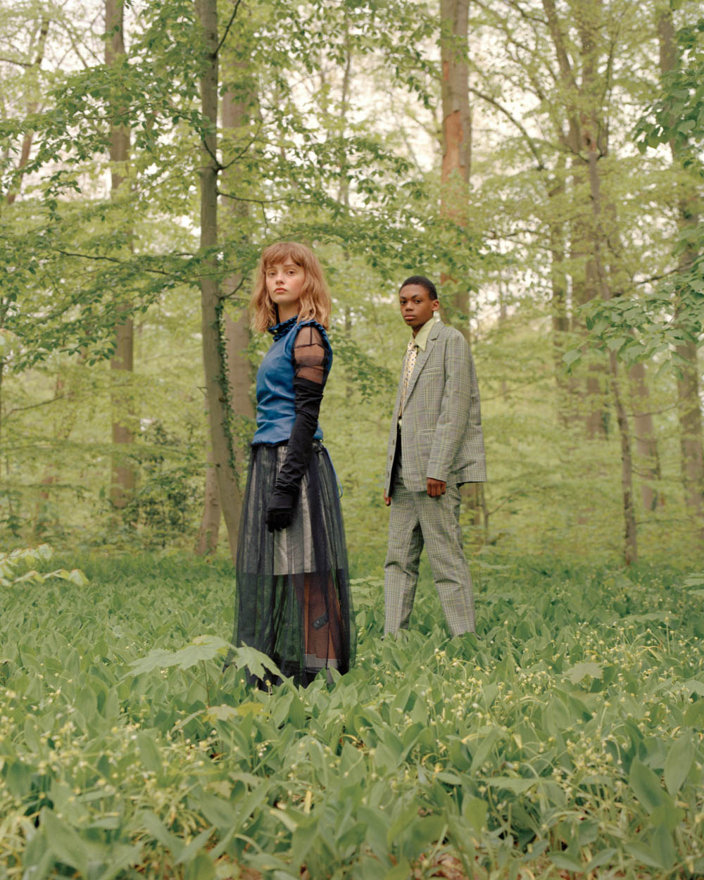 Maja wears top PREEN dress MONKI gloves TOGA PULLA skirt PREEN shoes TOGA PULLA. Jamil wears suit JULIAN ZIGERLI shirt FRECKLE SEOUL scarf MINT VINTAGE