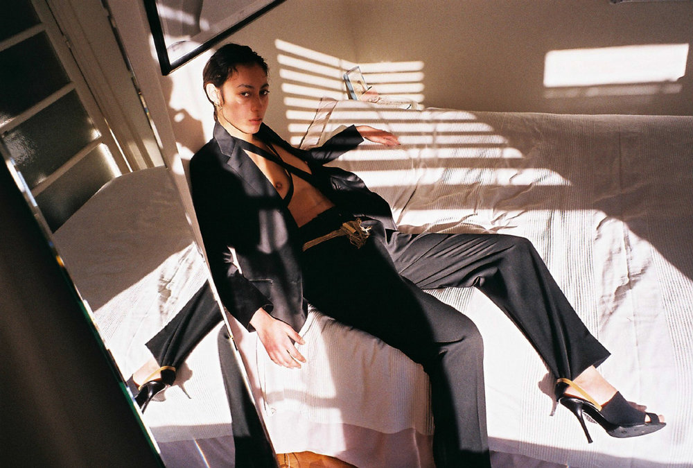 blazer, belt and sandals HELMUT LANG at ENDYMA.com Archivespants SAINT LAURENT