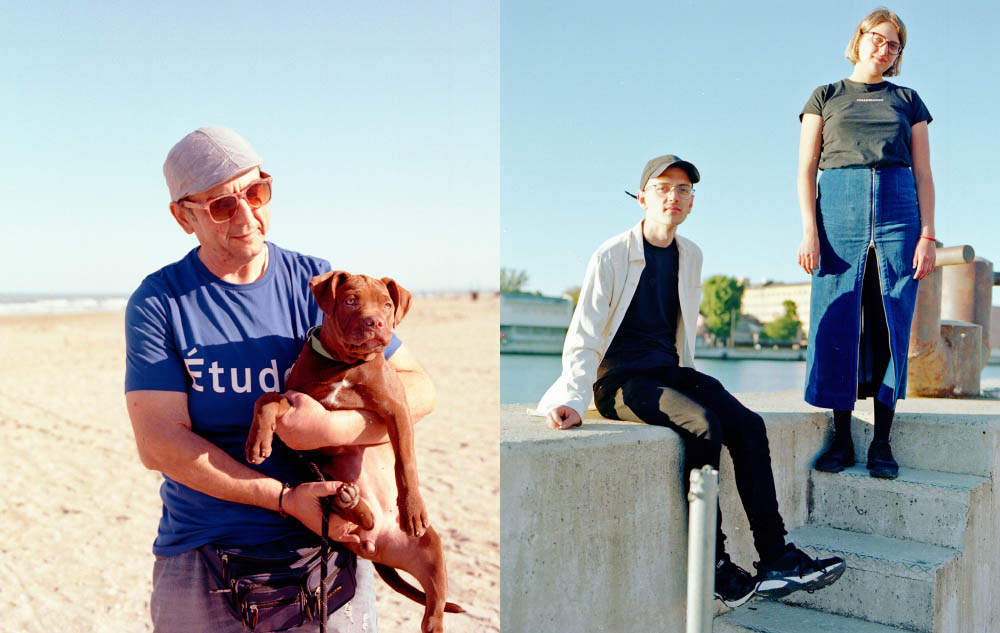 Andrea wears t-shirt  ETUDES .  Luca and Eleonora wears shirt  OUR LEGACY  and skirt  ECKHAUS LATTA