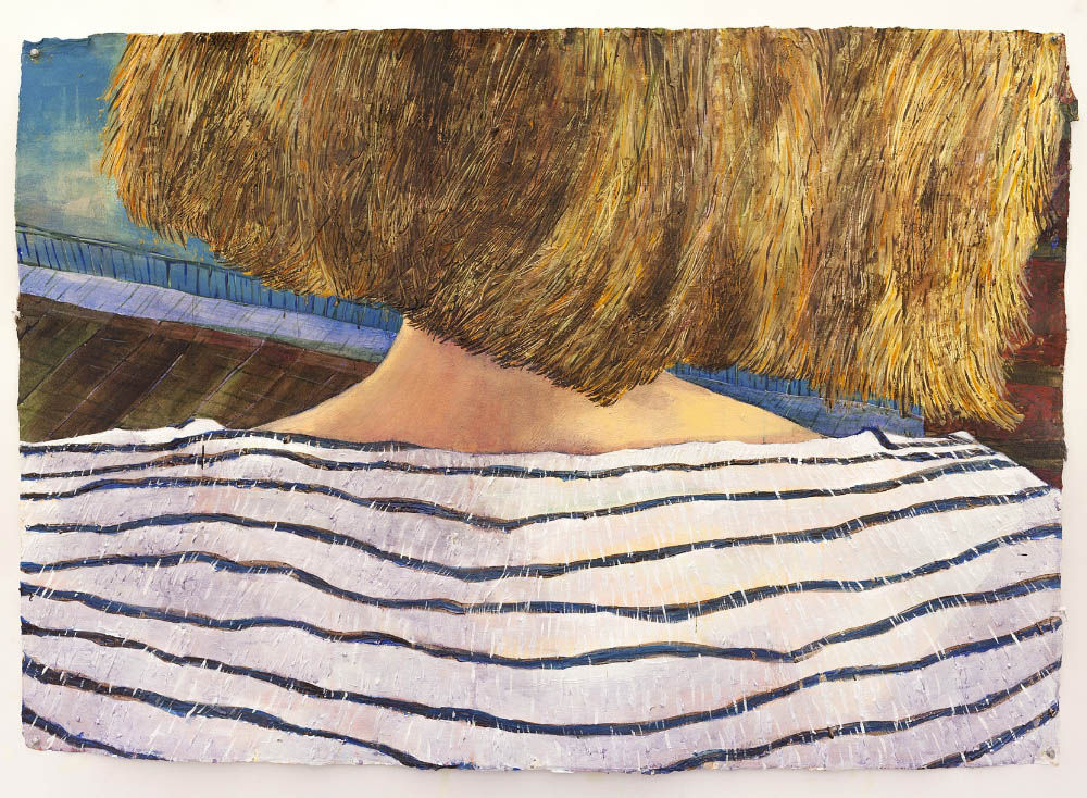 Nape (Violet at the Gowanus Canal), 2015, acrylic on handmade Indian Khadi paper, 37 x 53 inches