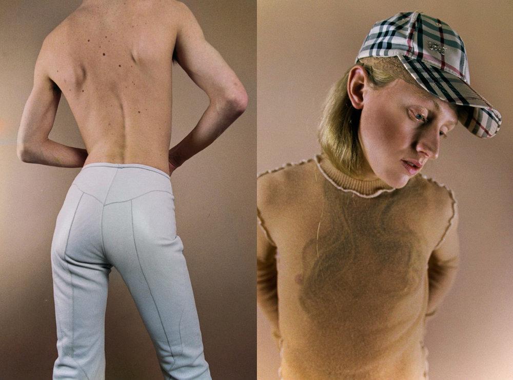 pants  LAURA DOLLS . cap   BURBERRY   top   MAISON THE FAUX