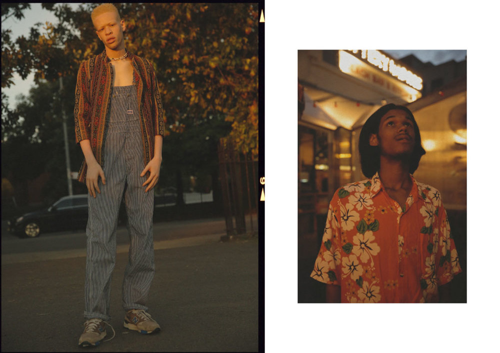 jacket  THE OUTSIDER, NEW YORK  workwear overalls  BIG SMITH  sneakers  NEW BALANCE  necklace  VINTAGE . hawaiian shirt  MODEL'S OWN