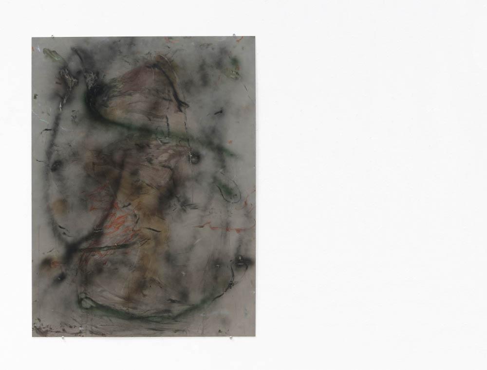 Untitled (nu metal), 2016, oil, spray, oil stick on metal