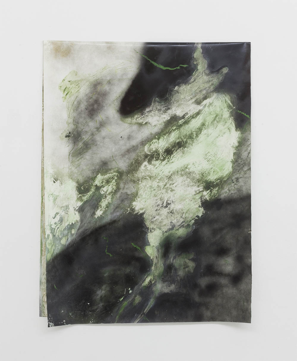 Untitled (Green Infernos series), 2017, oil, spray, beeswax and oil stick on PVC