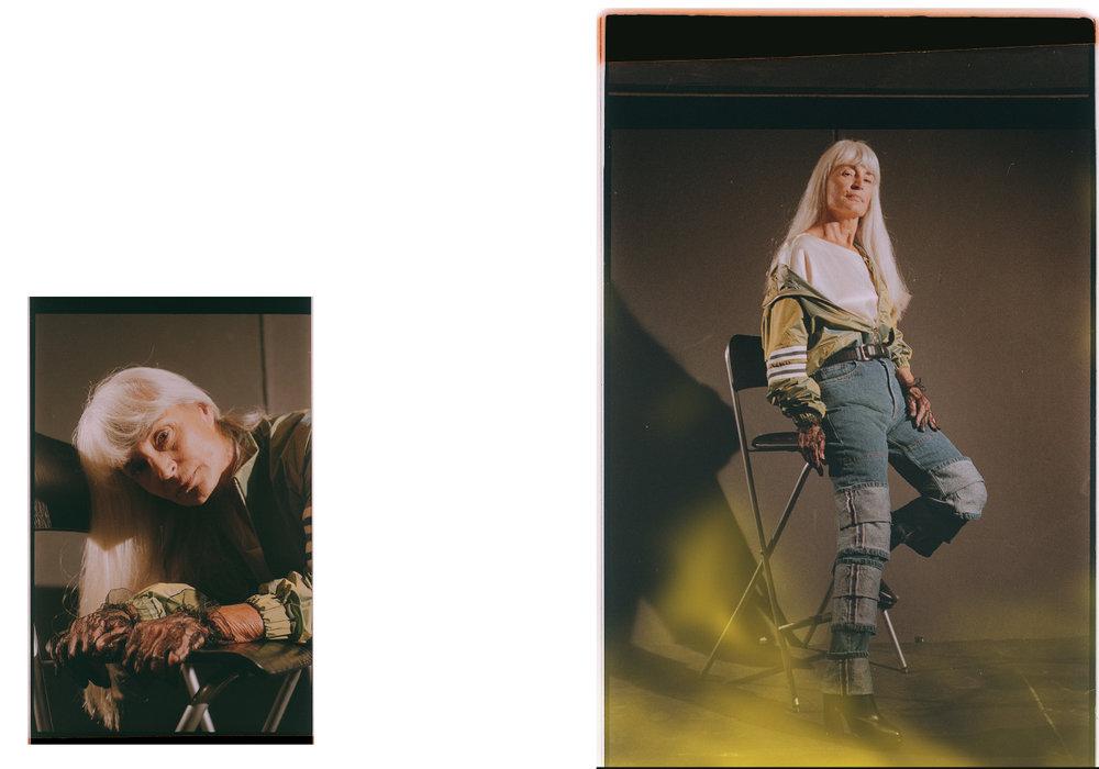 blouse  TIBI  jacket  ELLEN PEDERSEN . jeans  Y/PROJECT  boots  NICHOLAS KIRKWOOD  belt  REMO TULLIANI  gloves  VINTAGE