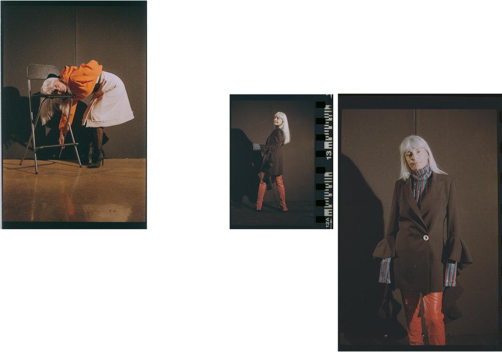 sweater  I.AM.GIA  skirt  CREATURES OF COMFORT  stockings  FALKE . turtleneck  MSGM  jacket  ELLERY  pants  I.AM.GIA  shoes  PIERRE HARDY