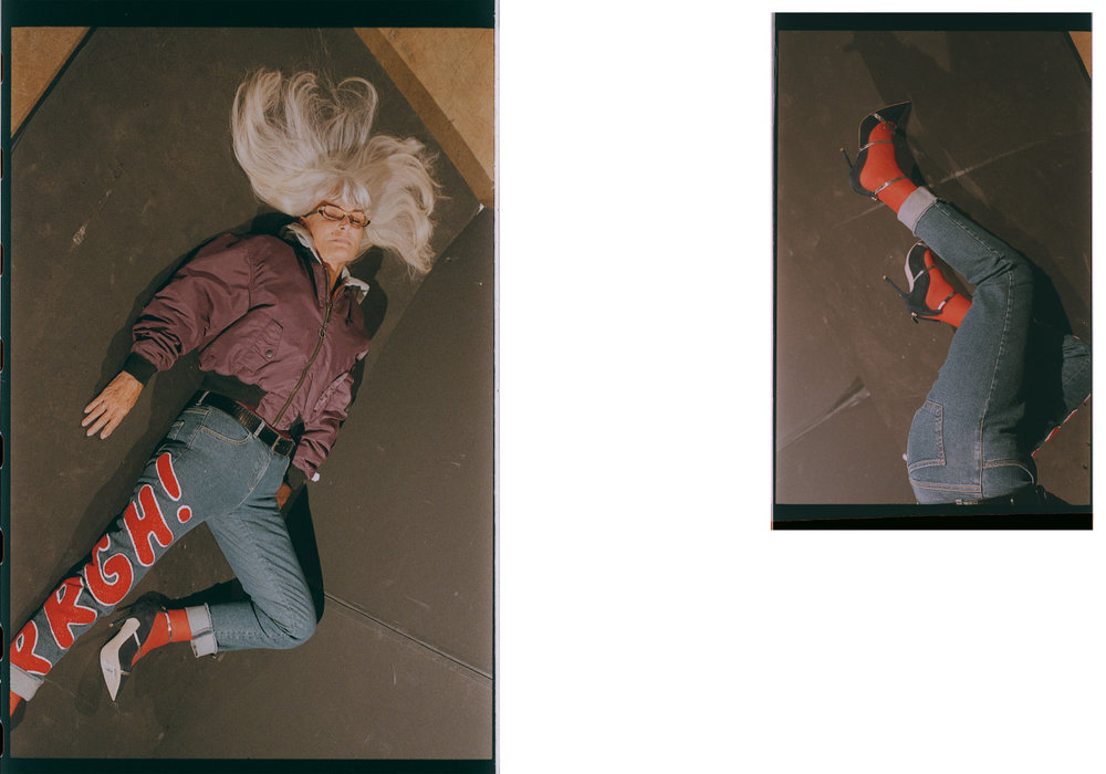jacket  ALPHA INDUSTRIES  jeans  KSUBI  belt  REMO TULLIANI  stockings  WOLFORD  pumps  MALONE SOULIERS