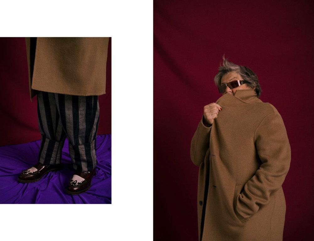 coat   ACNE STUDIOS   pants   ANDREA POMPILIO   shoes   ANDREA POMPILIO   .  coat   ACNE STUDIOS     sunglasses   MAX MARA    VINTAGE