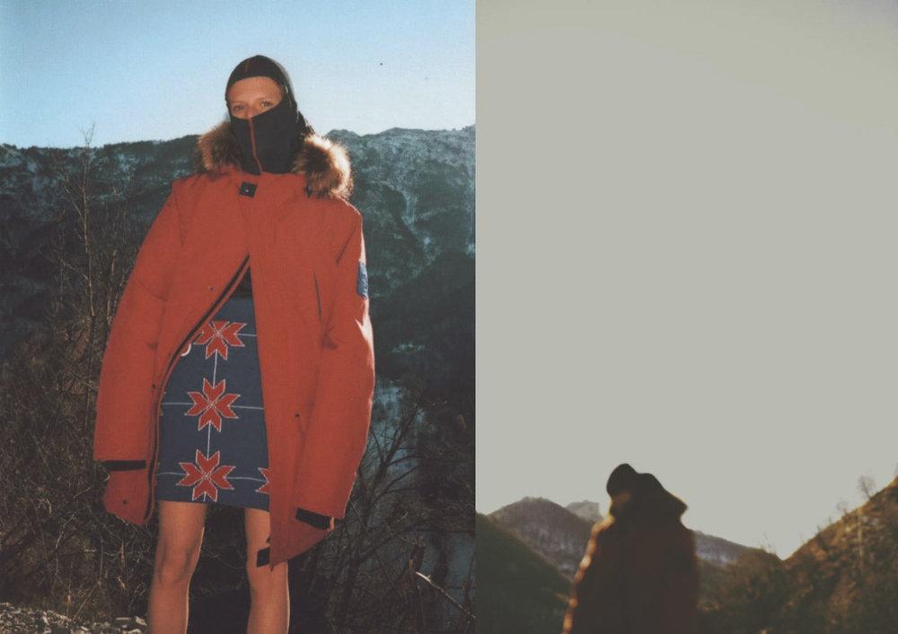 jacket  BREKKA  skirt  COLMAR  ski mask  ZEGNA
