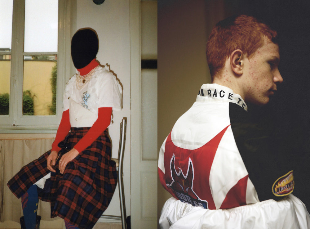 motocross jacket  STYLIST'S ARCHIVE  white layered dress  VINTAGE  balaclava  THINSULATE  red rollneck  STYLIST'S ARCHIVE  sempre meglio tee  MALACODA  kilt  STYLIST'S ARCHIVE  football socks. motocross race jacket  STYLIST'S ARCHIVE  white layered dress  VINTAGE